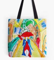Abstract Woman in Red Tote Bag