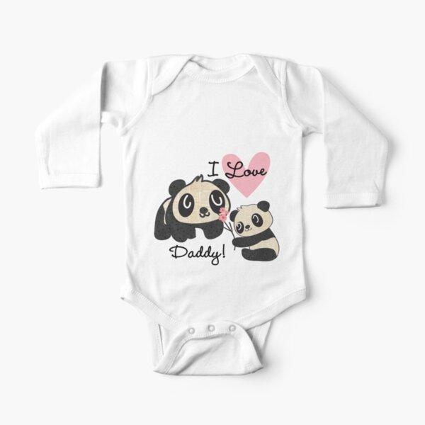 Kids Panda Bears I Love Daddy Long Sleeve Baby One-Piece