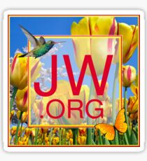 JW.org Logo With Tulips and Humingbird Sticker