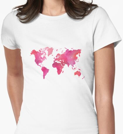 Pink Watercolor Texture World Map Womens Fitted T-Shirt