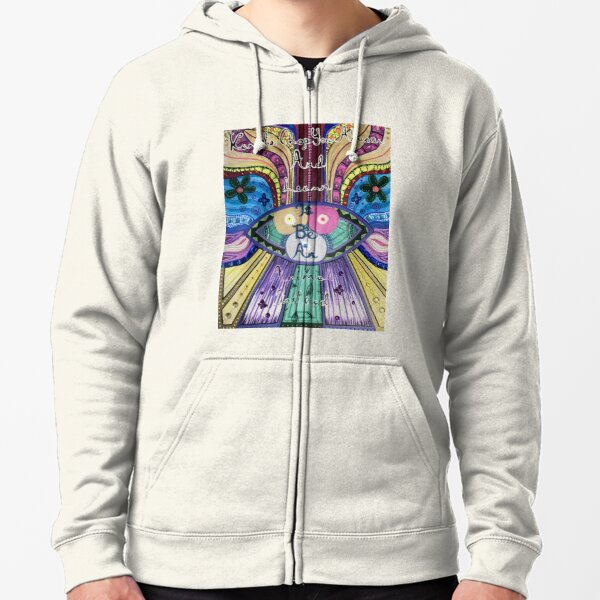 Trippy Colorful Will Wood Art Zipped Hoodie