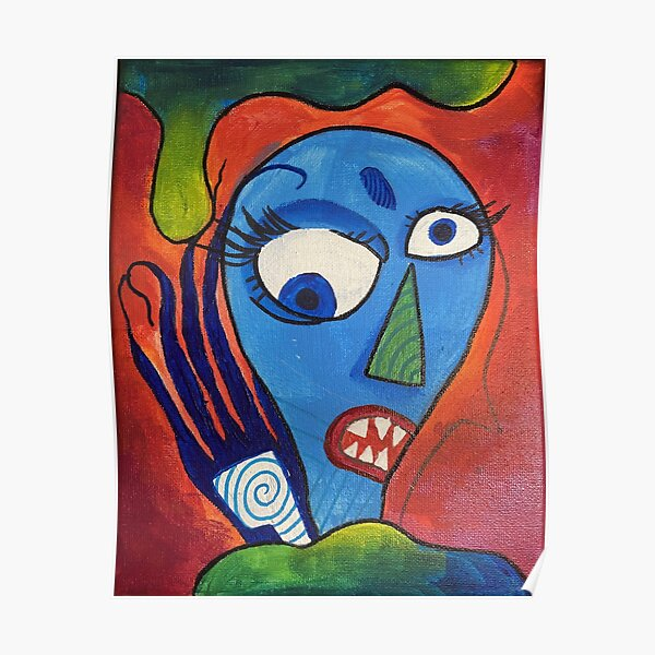 Colorful Trippy Abstract Monster Painting Poster