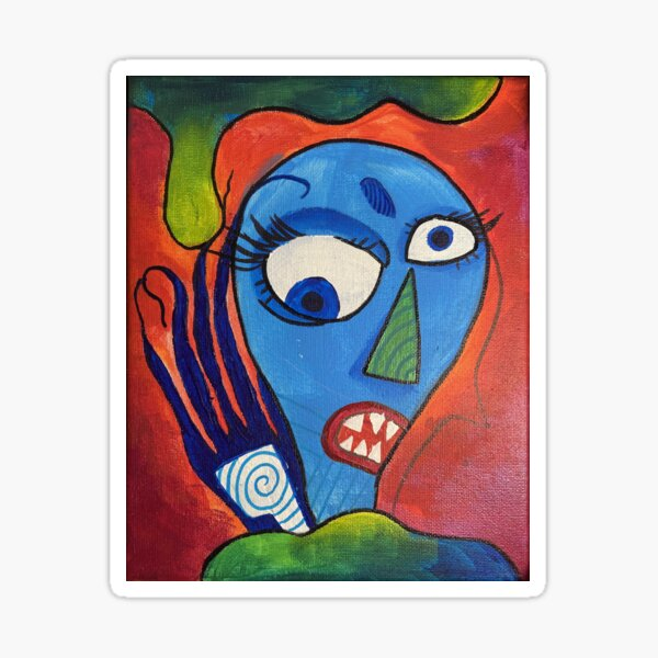 Colorful Trippy Abstract Monster Painting Sticker