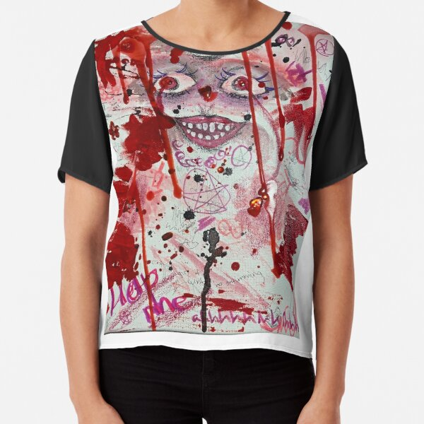 Colorful Red Abstract Art Chiffon Top