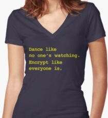 Dance Like No One's Watching Encrypt Like Everyone Is Women's Fitted V-Neck T-Shirt