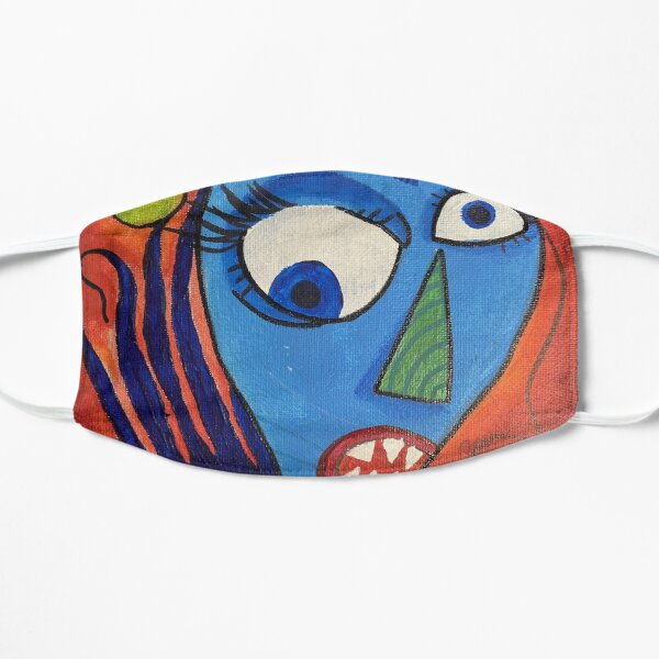 Colorful Trippy Abstract Monster Painting Flat Mask