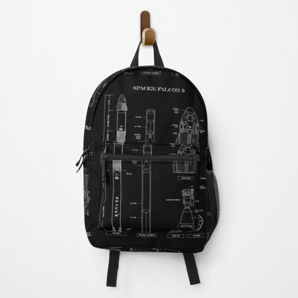 SpaceX: Falcon 9 & Dragon (White Stencil-No Background)  Vertical  Backpack
