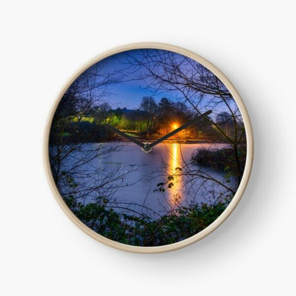 Frozen Lake at Corporation Park, Blackburn, Lancashire Clock