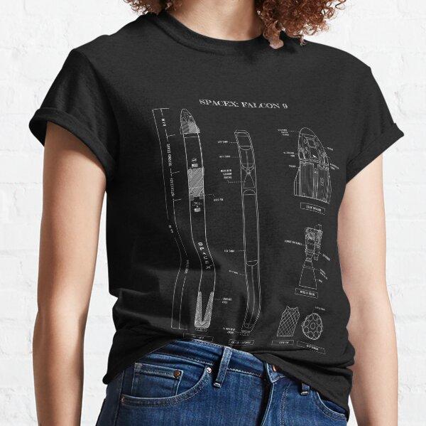 SpaceX: Falcon 9 & Dragon (White Stencil-No Background)  Vertical  Classic T-Shirt