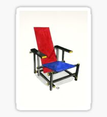The Red And Blue Chair - Watercolor Painting Sticker