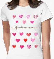 Cute Hearts Womens Fitted T-Shirt