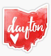 Dayton, Ohio - Watercolor Heart Ohio  Sticker