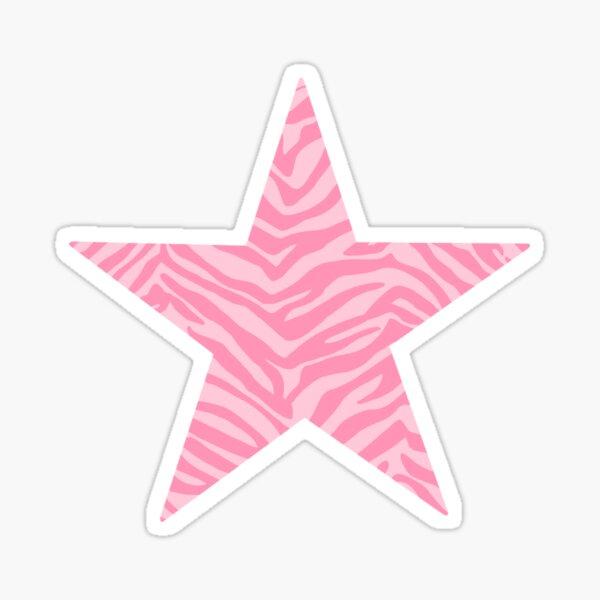 Pink Zebra Print Star Sticker