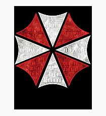 Resident Evil Umbrella Typography Photographic Print