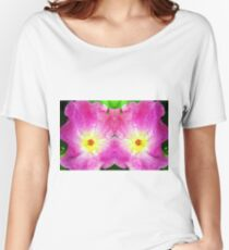 Pink Rose Bloom Mirrored  Women's Relaxed Fit T-Shirt
