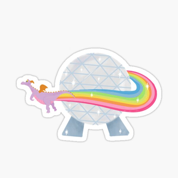 Figment flying around epcot ball with rainbow Sticker