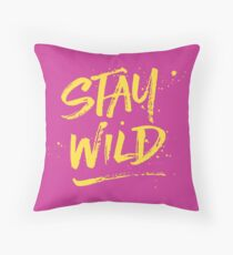 Stay Wild - Pink & Yellow Throw Pillow