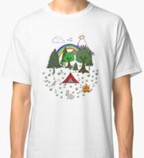 Cartoon Camping Scene Classic T-Shirt