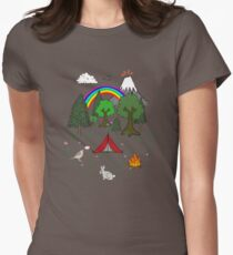 Cartoon Camping Scene Womens Fitted T-Shirt