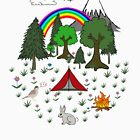 Cartoon Camping Scene by Rob Price