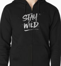 Stay Wild - White Zipped Hoodie