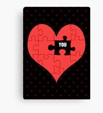 Heart Puzzle (black) Canvas Print