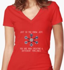 Community: Different Timelines Women's Fitted V-Neck T-Shirt