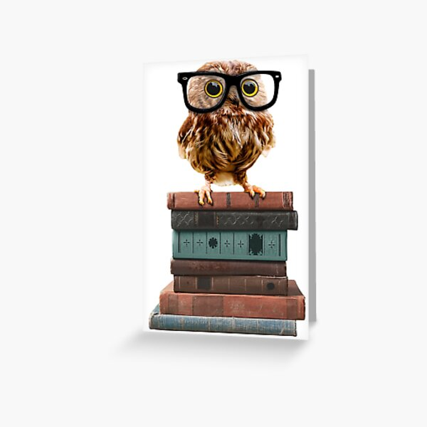 Adorable Nerdy Owl with Glasses on Books Greeting Card