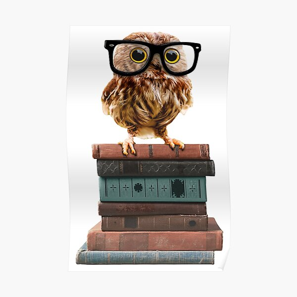 Adorable Nerdy Owl with Glasses on Books Poster