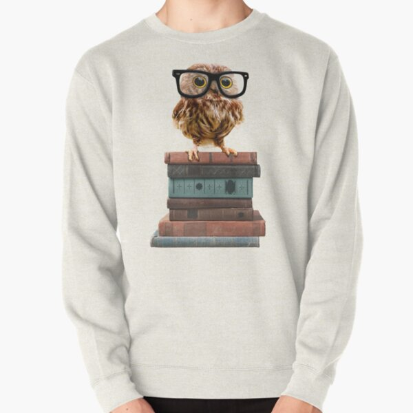 Adorable Nerdy Owl with Glasses on Books Pullover Sweatshirt