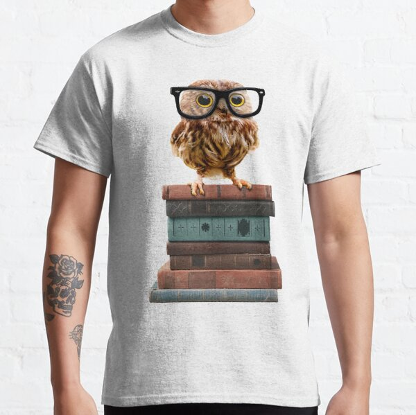 Adorable Nerdy Owl with Glasses on Books Classic T-Shirt