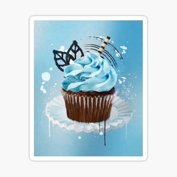 Blue Cupcake Sticker