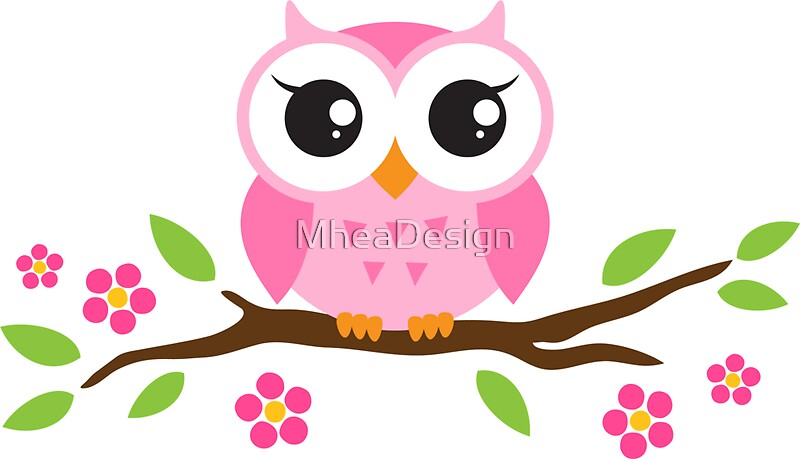 cute pink cartoon baby owl sitting on a branch with leaves and flowers stickers by mheadesign