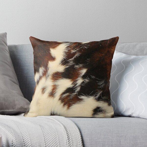 Brown Cowskin Fur Hide Pillow Throw Pillow