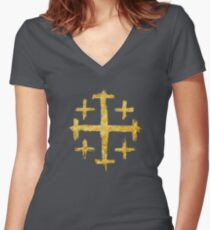 Crusader's Cross - Gold Edition Women's Fitted V-Neck T-Shirt