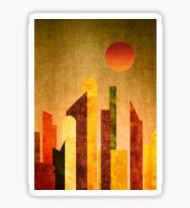 Autumn City Sunset Geometric Flat Urban Landscape Sticker