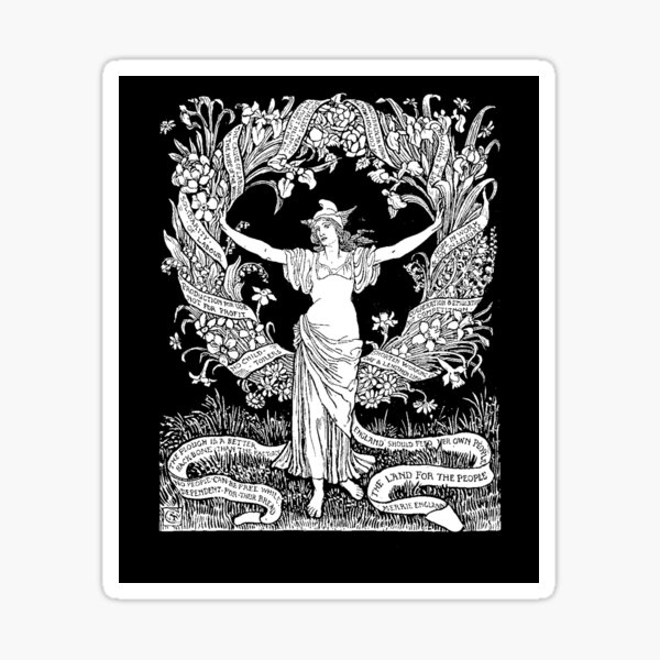 Walter Crane: A Garland for May Day 1895 Sticker