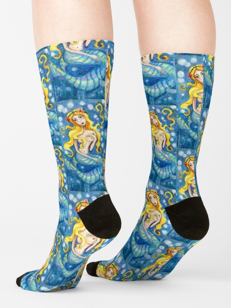 Alternate view of Sea Mermaid swimming, Fairytale character, Faerie, Sirena, Sea creature, Fish woman  Socks