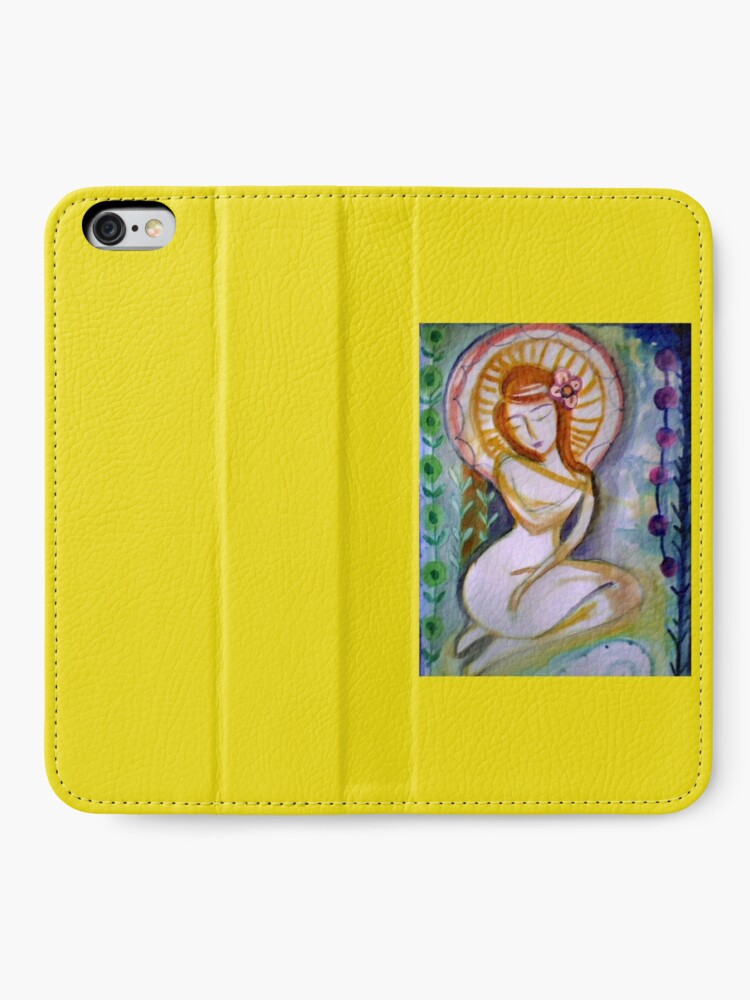 Alternate view of Pretty Goddess Woman, Self love & self care, redhead girl, abstract Floral art   iPhone Wallet