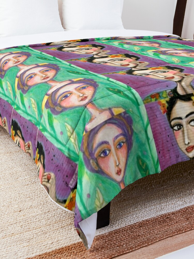 Alternate view of Happy Sad Frida Kahlo Portrait, Mexican Artist, Boho Art Comforter