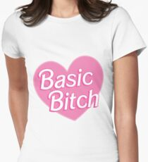 Basic Bitch Pink Womens Fitted T-Shirt