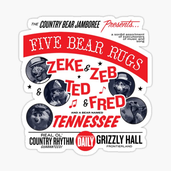 Country Bear Jamboree Five Bear Rugs  Sticker