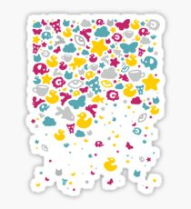 Toys falling like candies - white Sticker