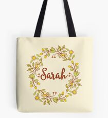 Sarah lovely name and floral bouquet wreath Tote Bag