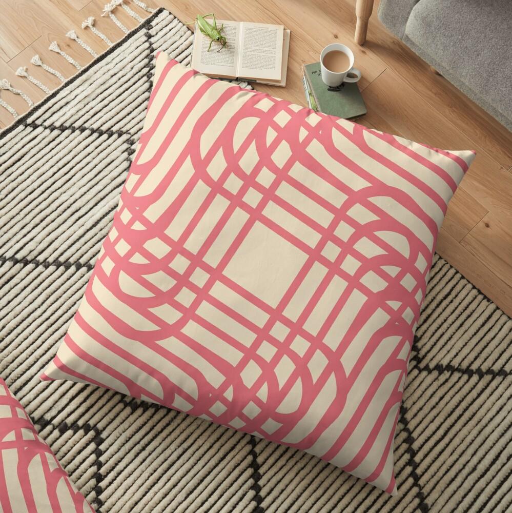 Modern Geometric Pink Raspberry Cream Orange Pattern Design 1889 Floor Pillow