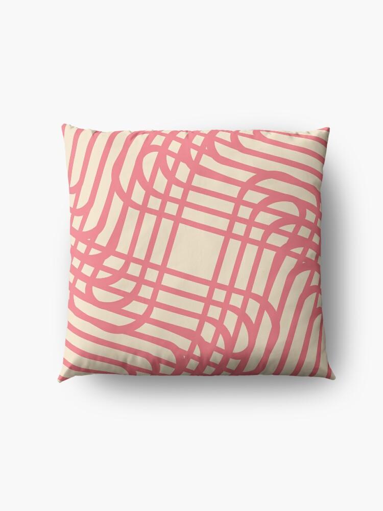 Alternate view of Modern Geometric Pink Raspberry Cream Orange Pattern Design 1889 Floor Pillow