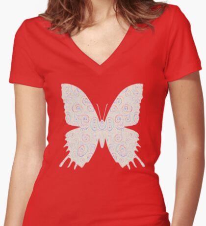 #DeepDream White Butterfly Fitted V-Neck T-Shirt