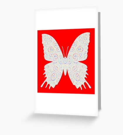 #DeepDream White Butterfly Greeting Card