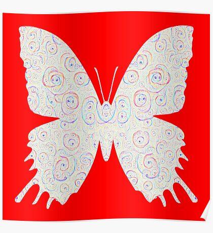 #DeepDream White Butterfly Poster