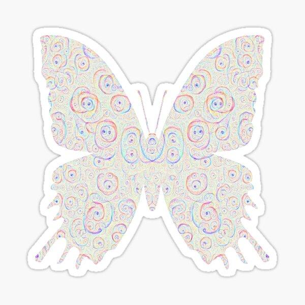 #DeepDream White Butterfly Sticker